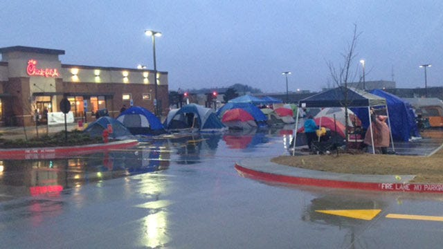 Customers Camp Out Waiting For New Broken Arrow Chick-fil-A
