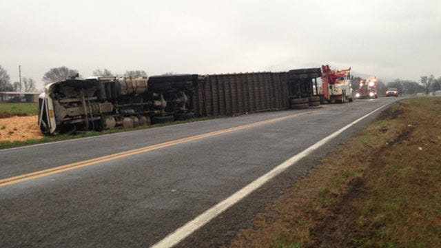 OHP: Overturned Semi Spills Wood Chips, Closes LeFlore County Highway