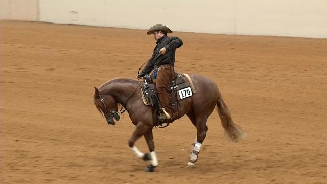 Riders, Horses Compete In Tulsa 'Ride And Slide' Event