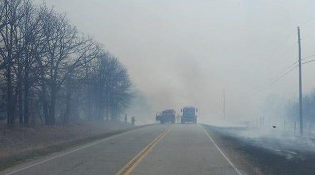 Nine Fire Departments, National Guard Battle Skiatook Wildfire