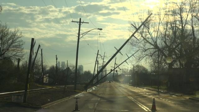 Dozens Of PSO Electric Poles Damaged In Sand Springs