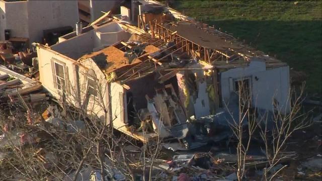 Osage SkyNews 6 HD Flies Over Sand Springs Tornado Damage