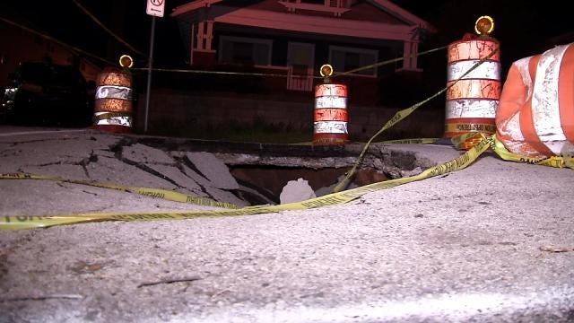Sinkhole Swallows Midtown Tulsa Street