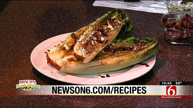 Grilled Romaine Hearts With White Balsamic Vinaigrette