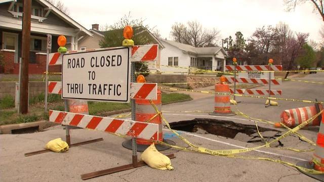 Crews Repairing Failed Storm Sewer In Midtown Tulsa