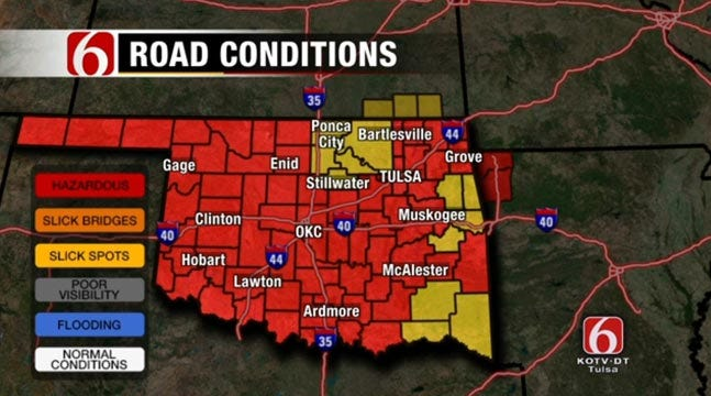 Slick Start To Oklahoma Morning Followed By Slow Warming Trend