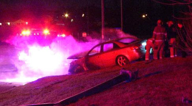 Car Catches Fire After Crashing Into Tulsa Light Pole