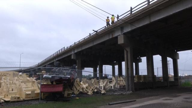 Crash Sends Pickup Off Bridge In West Tulsa