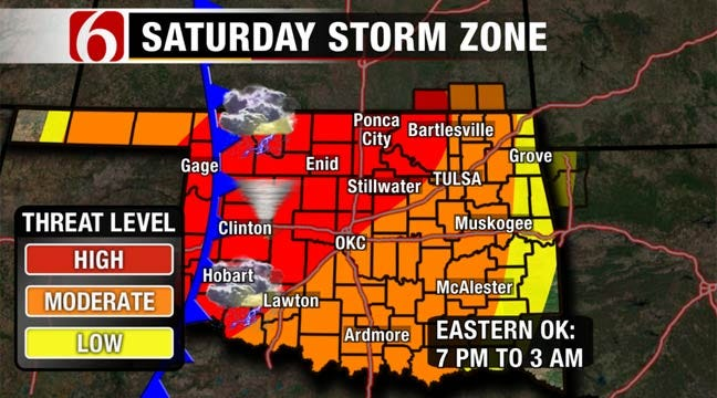 Severe Weather Moves Toward Green Country Saturday Night