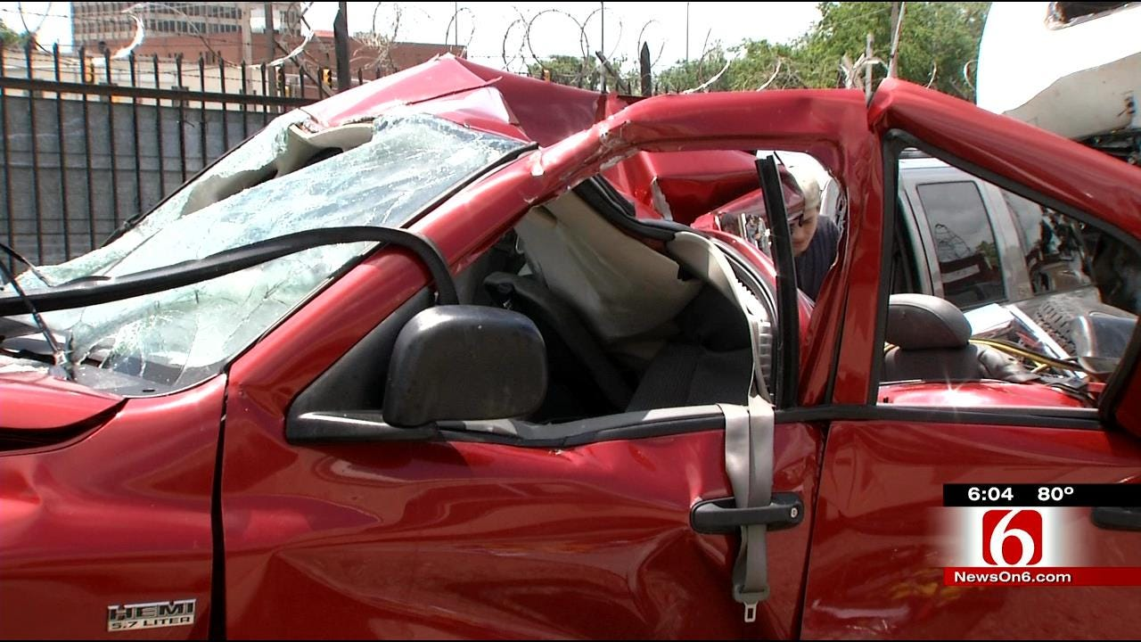 Tulsa Driver Lucky To Be Alive After Wreck At 23rd Street Bridge