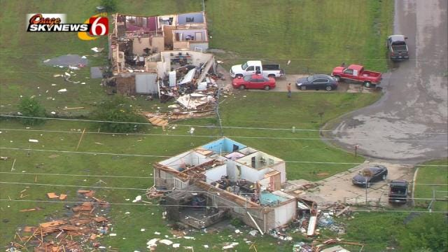 Emergency Crews Assess Damage Caused By Wagoner County Tornado