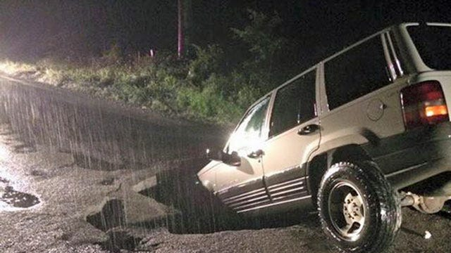 SUV Drives Into Sinkhole In Creek County