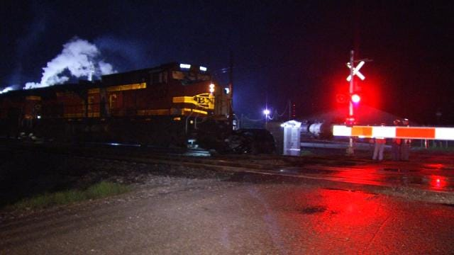 Abandoned Car Hit By BNSF Locomotive In West Tulsa