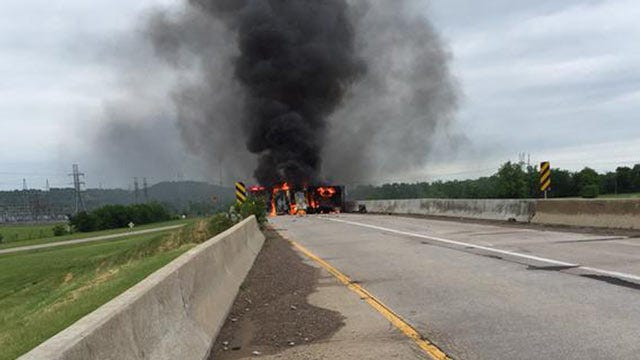 Fiery Wreck Closes Highway Ramp In Catoosa