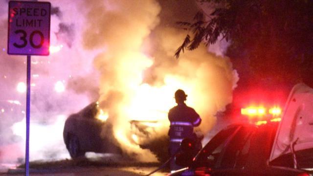 Stolen Car Catches Fire After Tulsa Wreck