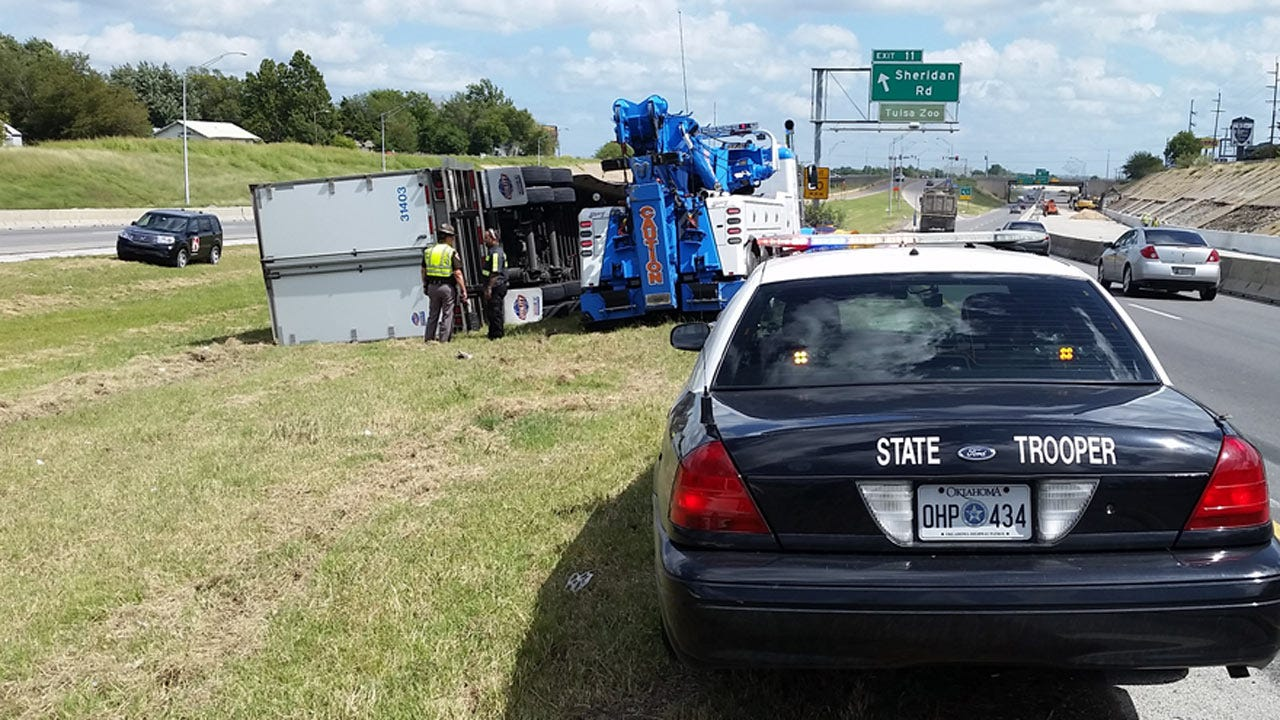 Semi Rolls Over In Tulsa I-244 Construction Zone