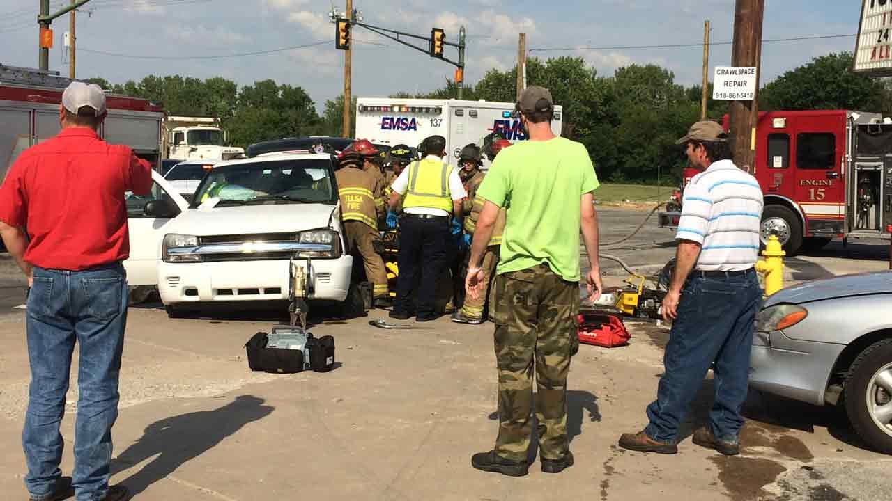 Jaws Of Life Used At Tulsa Wreck; Two Taken To Hospital