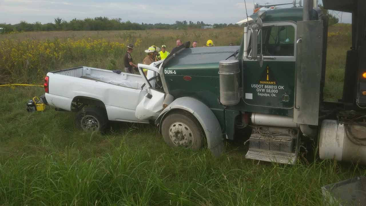 One Dead After Pickup Collides With Dump Truck In Oologah