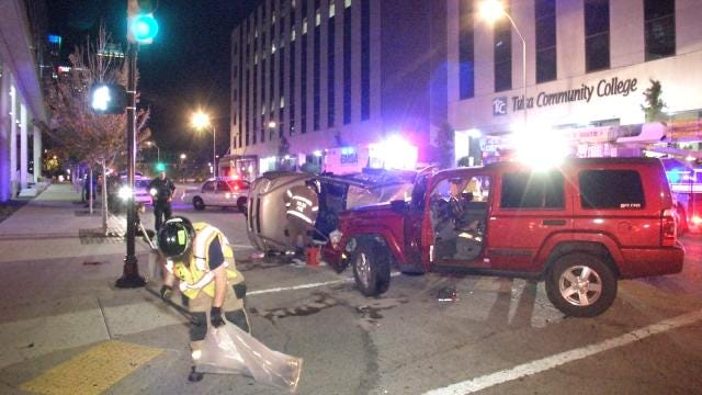 Downtown Tulsa Wreck Sends One To Hospital, One To Jail