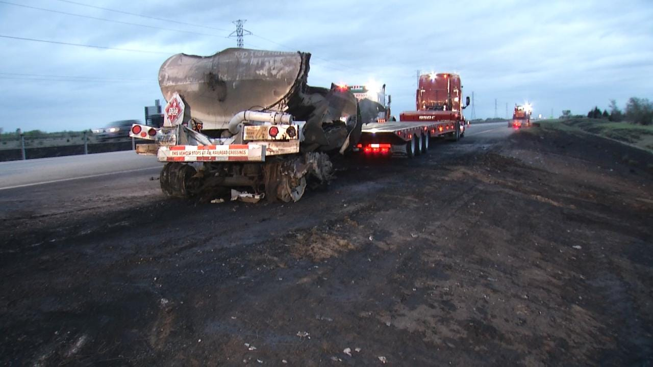 OHP: Overheated Brakes Blamed For Tulsa County Fuel Truck Fire