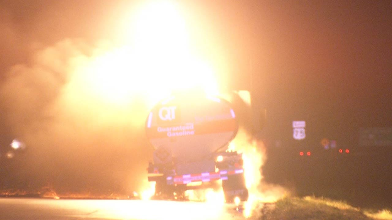 QT Tanker Truck Burns Along Highway 75 Near Owasso