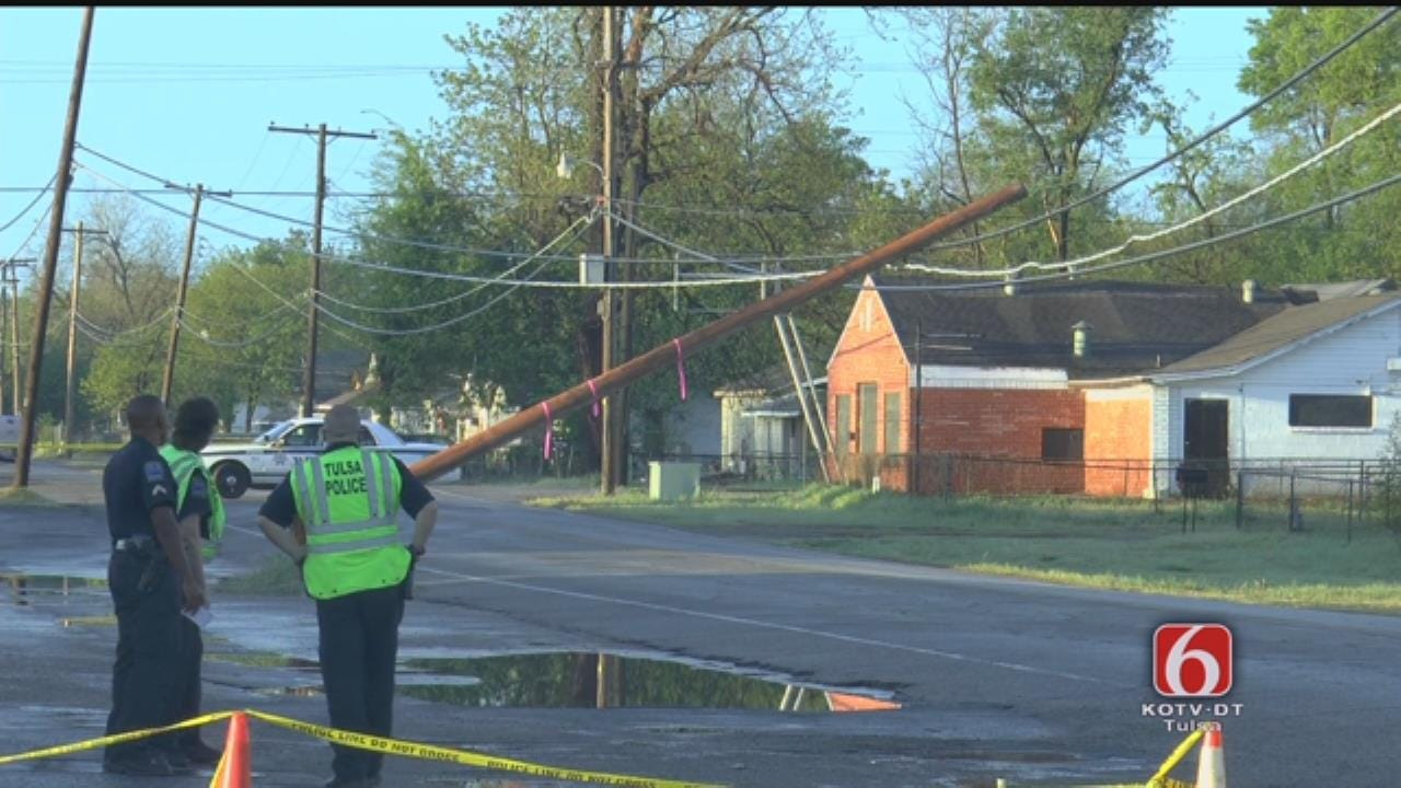 Tulsa Street Blocked For Downed Pole On Power Lines