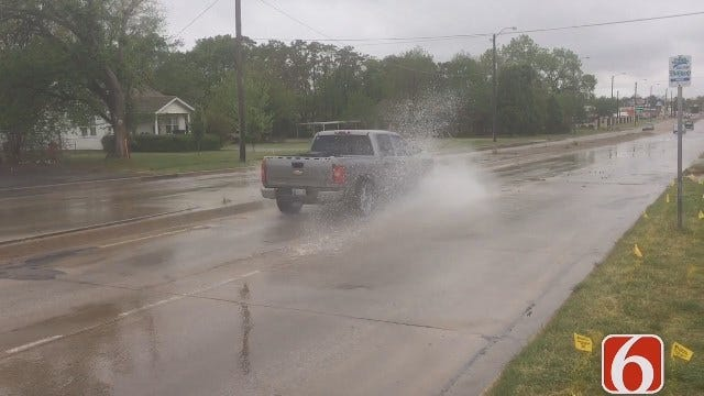 Water Line Break Causes Delays On Memorial Near 11th In Tulsa