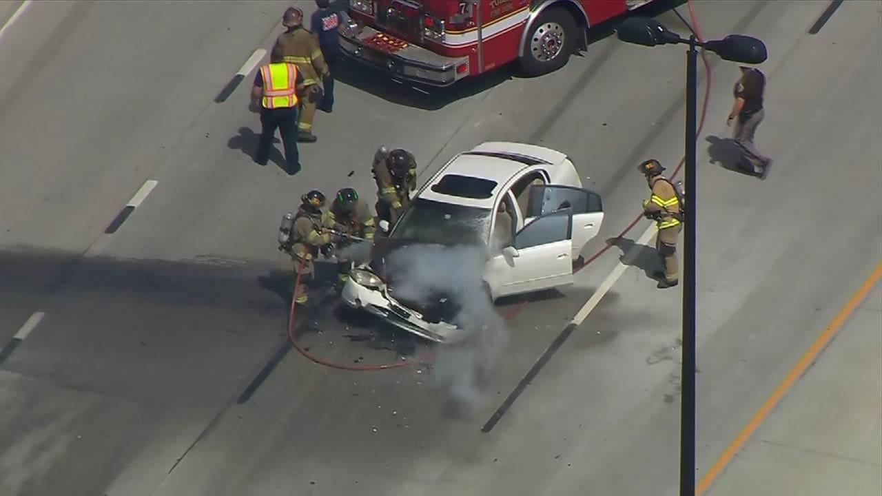 Wreck, Car Fire Slows Traffic on I-44