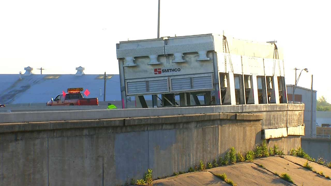 Semi Carrying Oversized Load Causes Backup On Tulsa Highway