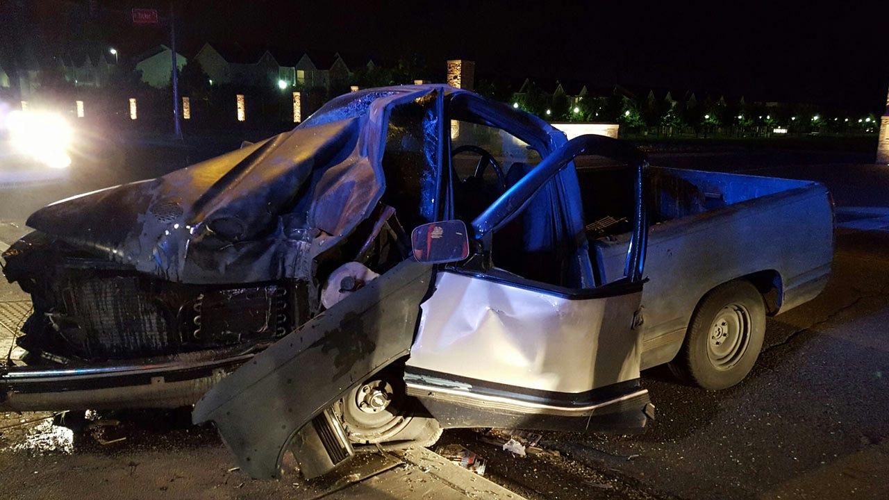 Police: Driver Alive After Slamming Pickup Into Tulsa Light Pole