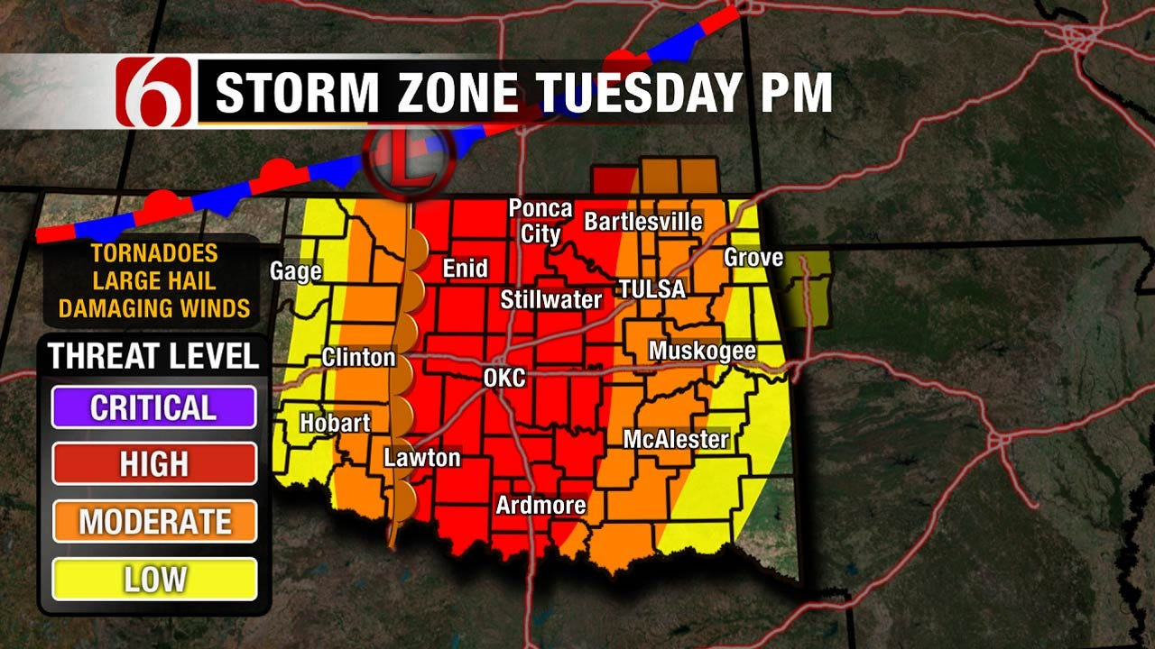 Severe Weather Likely Across Oklahoma On Tuesday