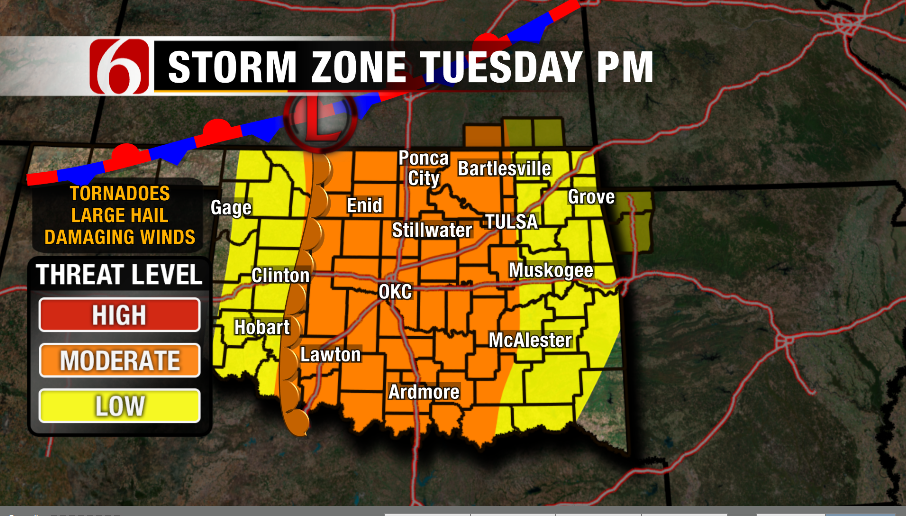Threat Of Severe Storms On Tuesday