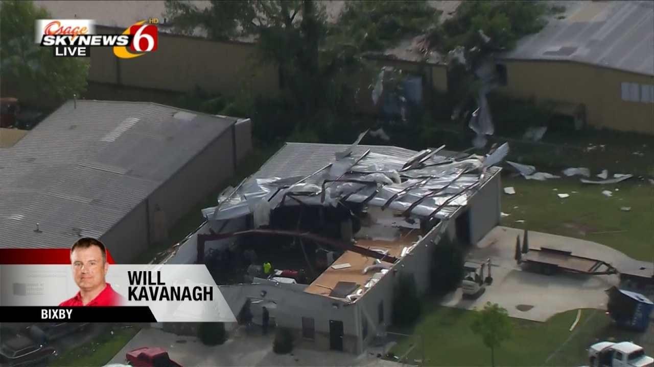 Osage SkyNews 6 HD: Winds Destroy Roof Of Bixby Company