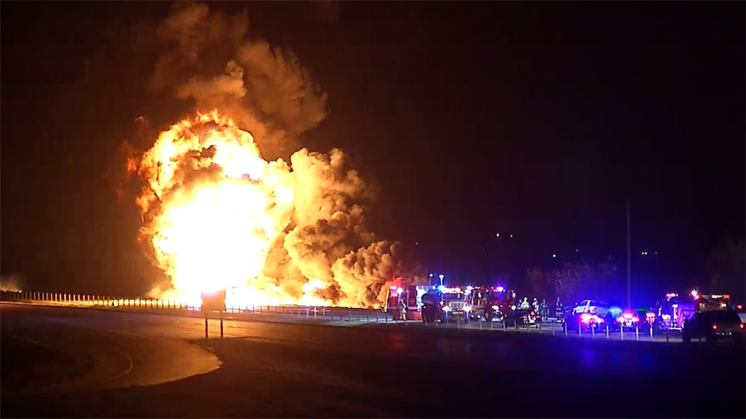 Tanker Fire Shuts Down Highway 75 In Owasso