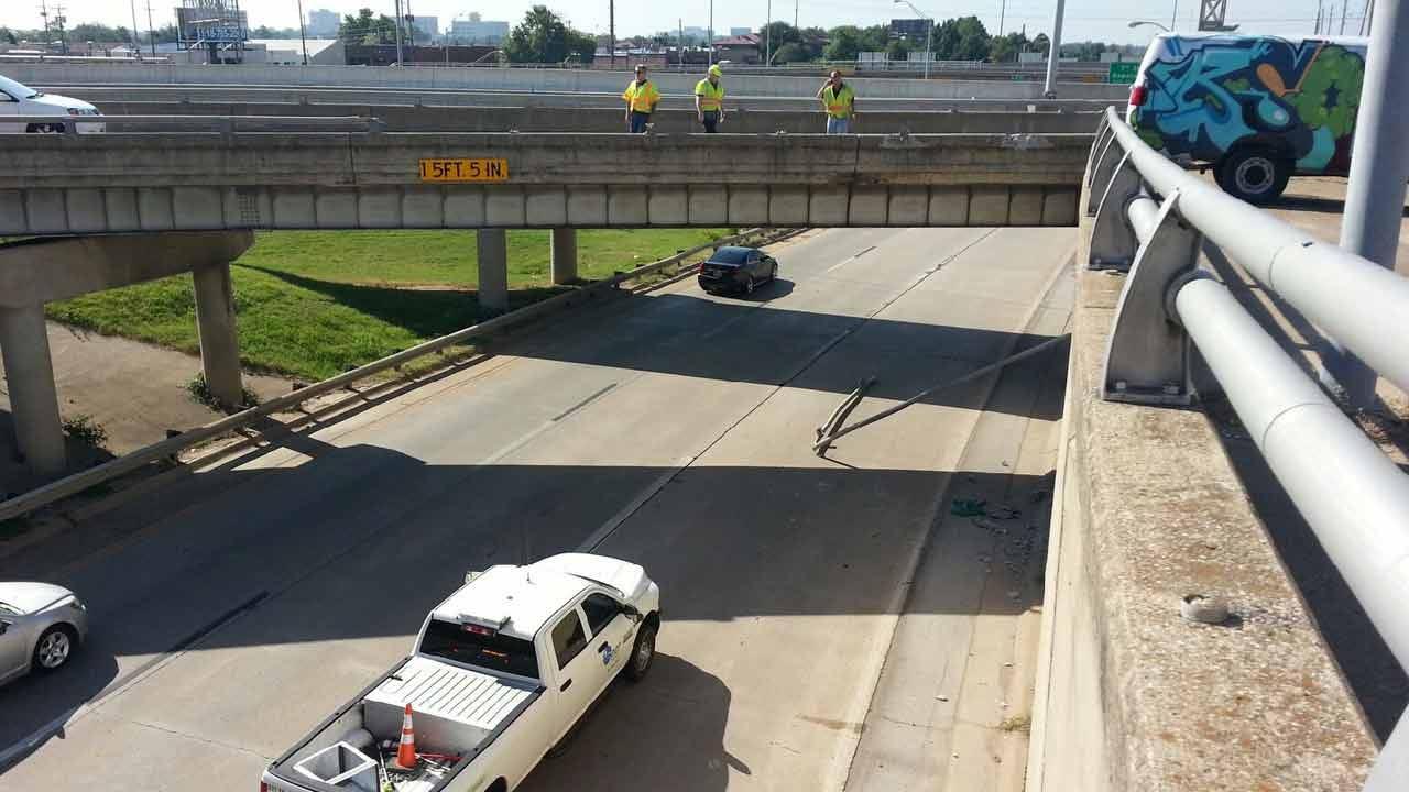 OHP: Oversize Load Damages Tulsa Exit Ramp Railing