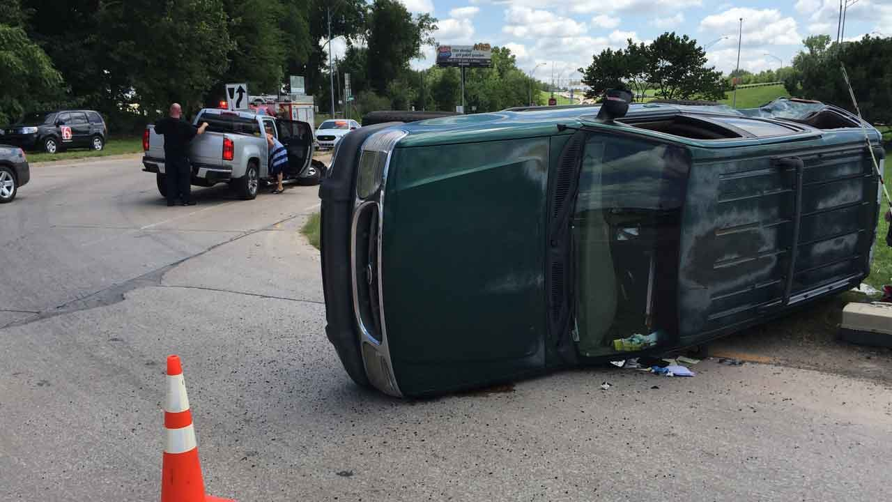 Police: No Serious Injuries, Driver Cited, In Tulsa Rollover Wreck