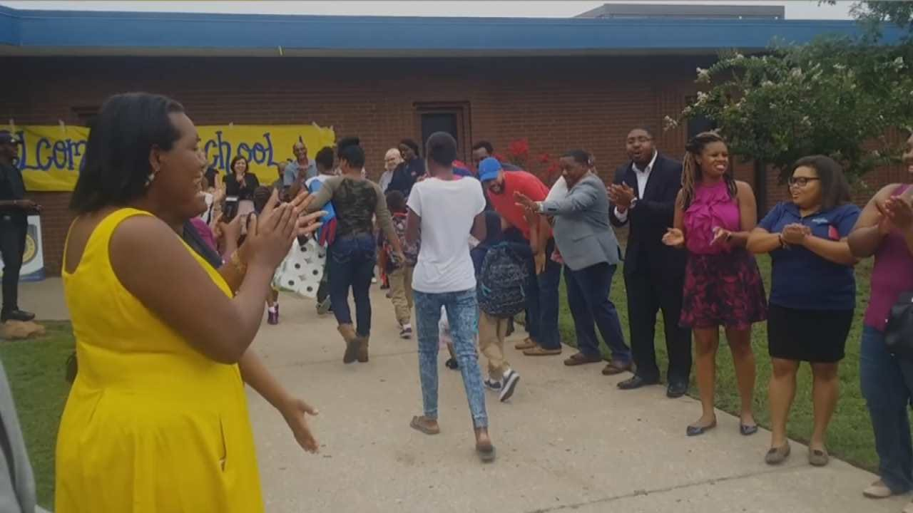 Supporters Welcome Students At Tulsa's Legacy Charter School