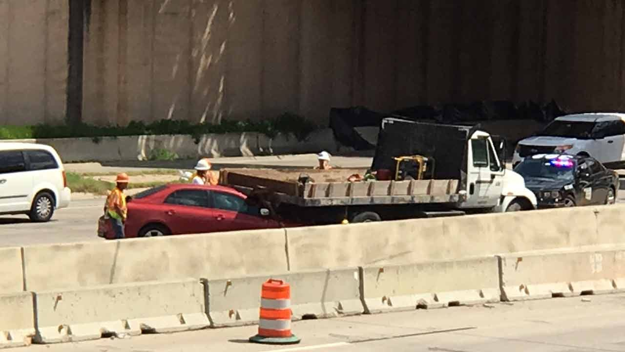 Car Rear-Ends Flatbed Truck On Tulsa IDL
