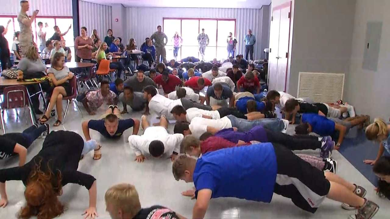 Glenpool High School Students Take Part In 22 Pushup Challenge