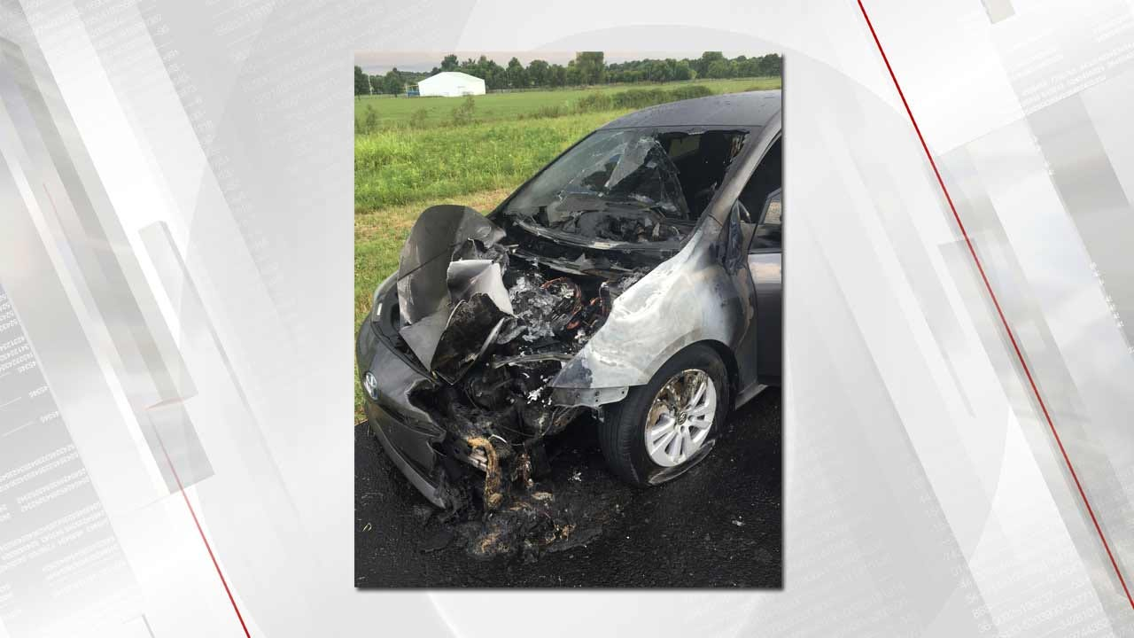 Car Struck By Lightning, Catches Fire On Will Rogers Turnpike