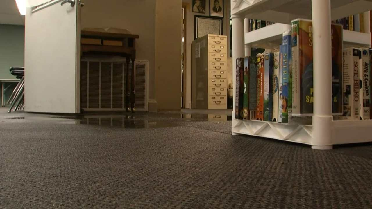 Heavy Rain Causes Flooding In Pawnee Public Library