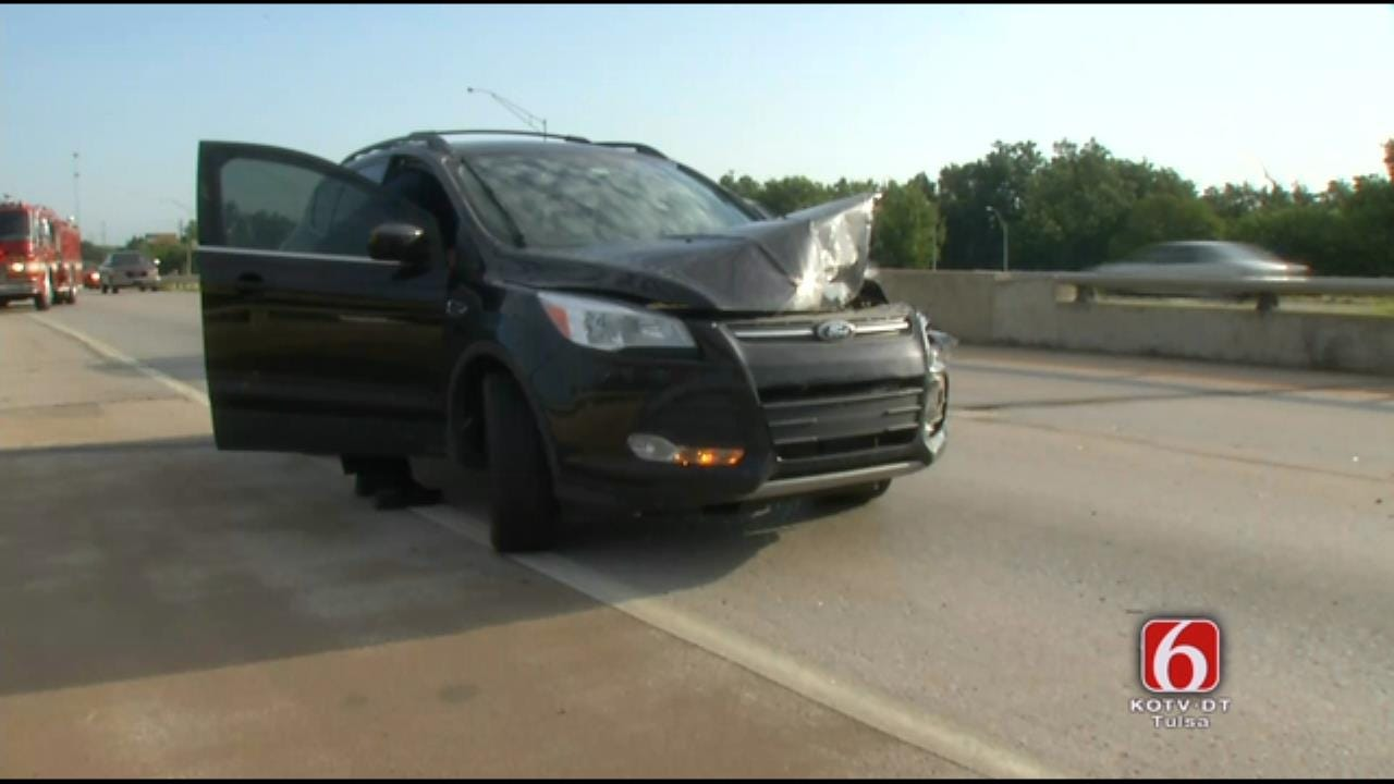 Recycling Bin In Roadway Blamed For Tulsa Crash