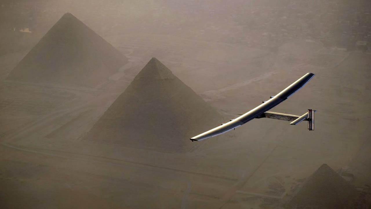 Solar Powered Plane Lands In Egypt In Around The World Flight