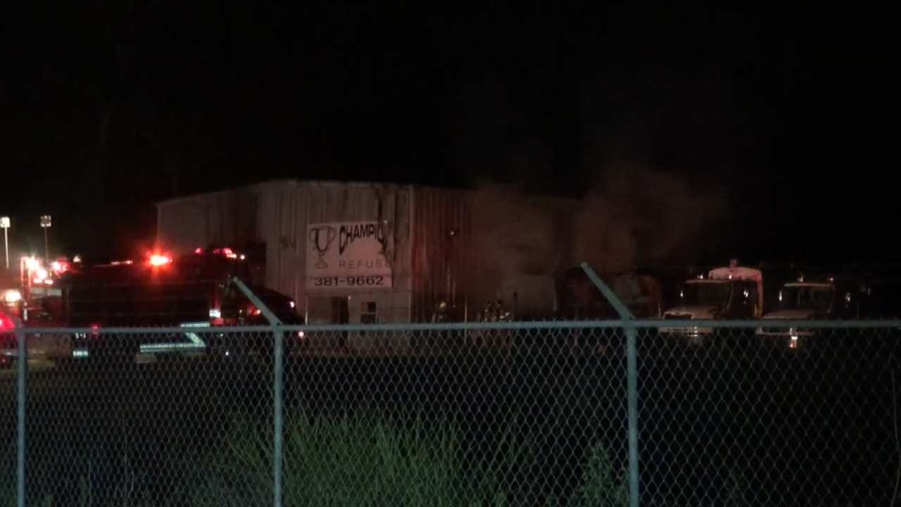 Two Trash Trucks Catch Fire At Catoosa Business