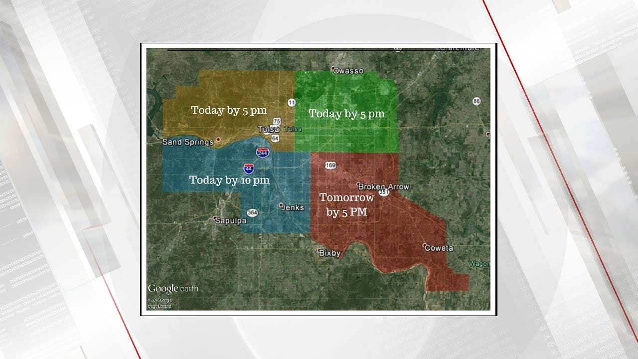 PSO Expects All Power To Be Restored In Tulsa By Sunday Afternoon