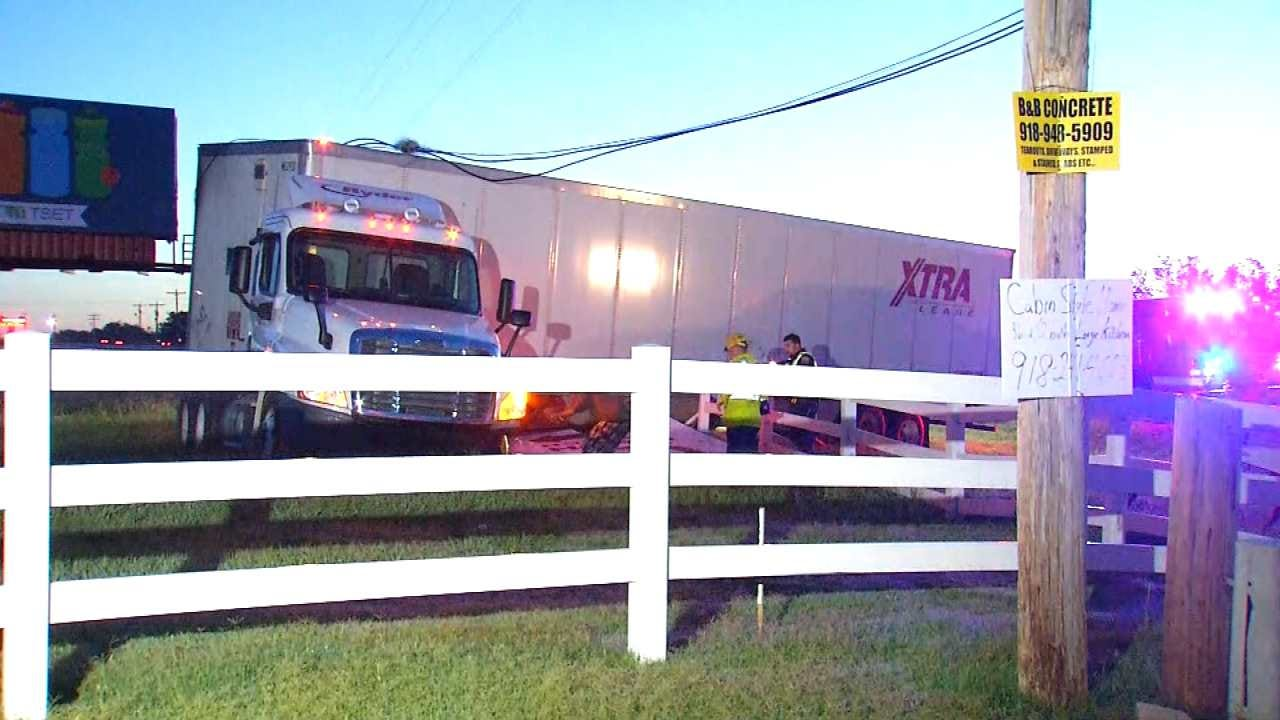 Power Lines Trap Driver After Truck Hits Pole In Glenpool