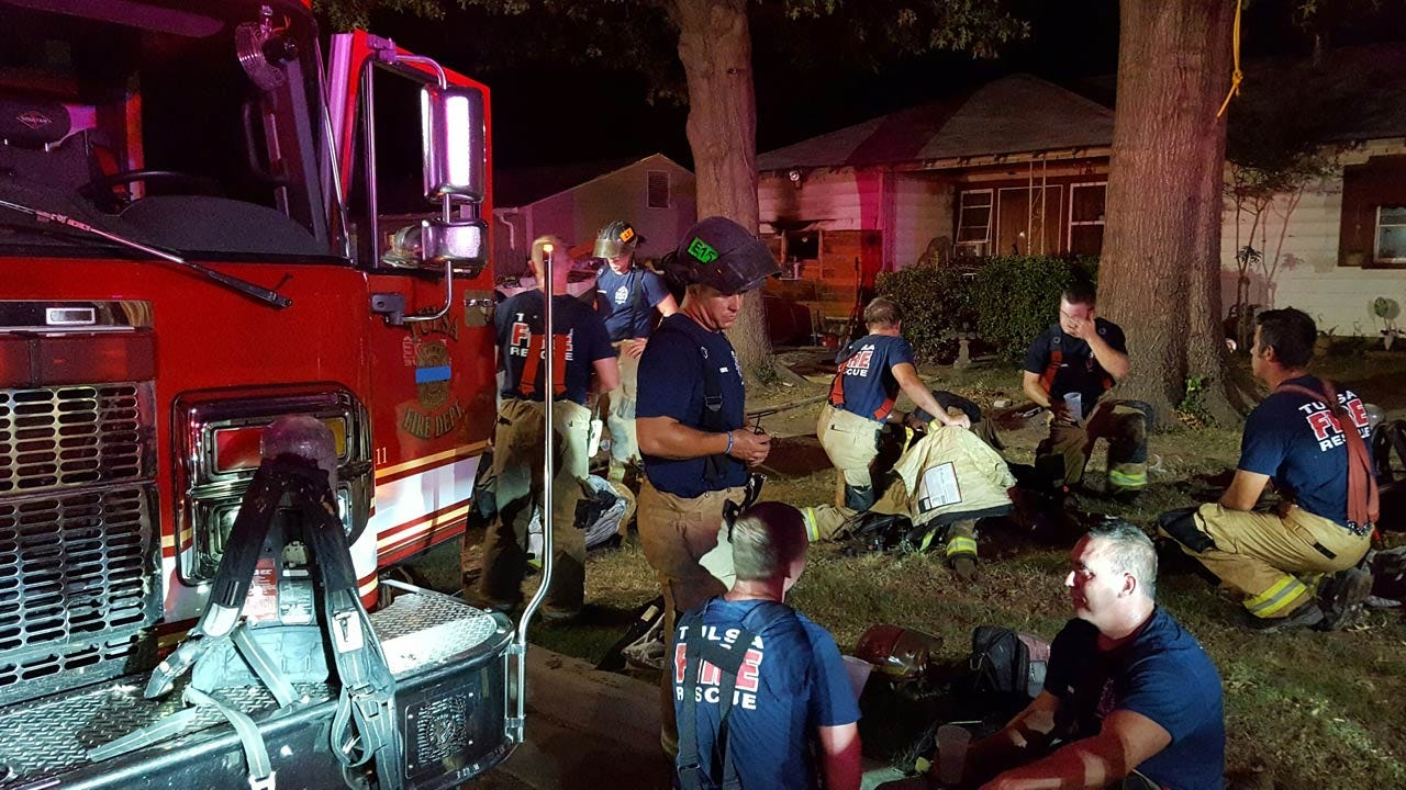 Firefighters Battle Flames And Heat At Tulsa House Fire