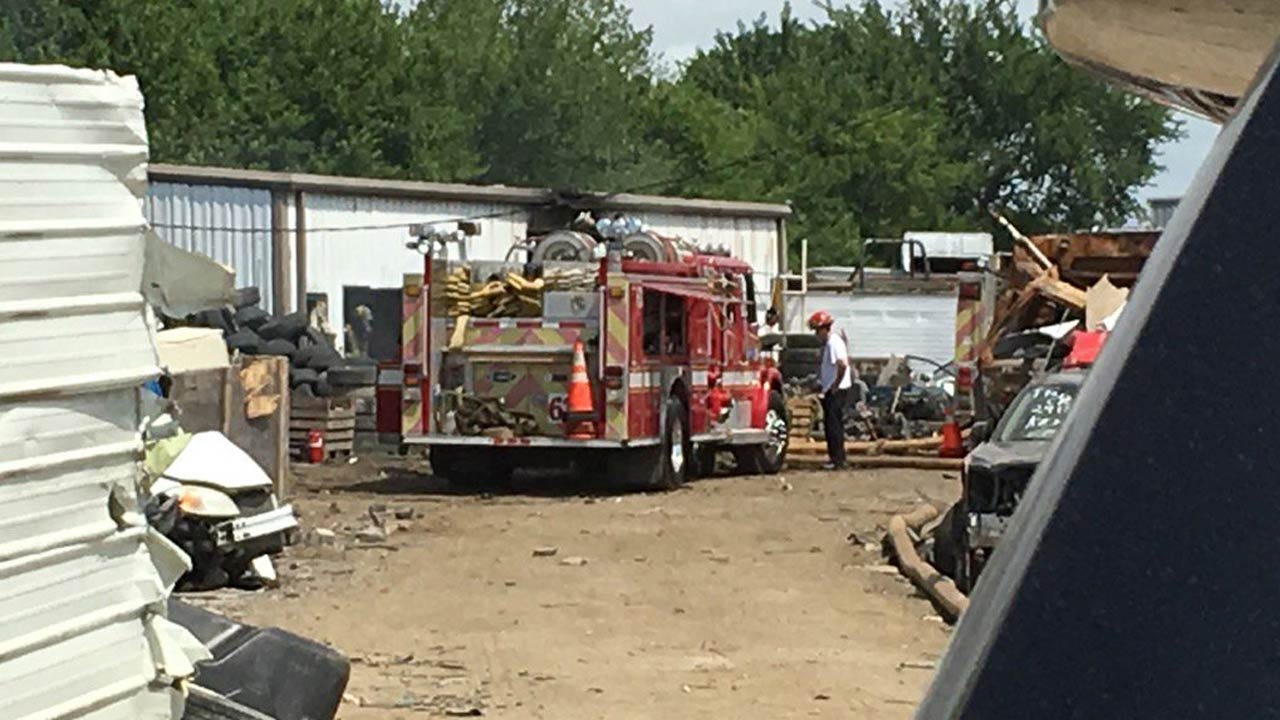 Fire Damages Building At Tulsa Salvage Yard