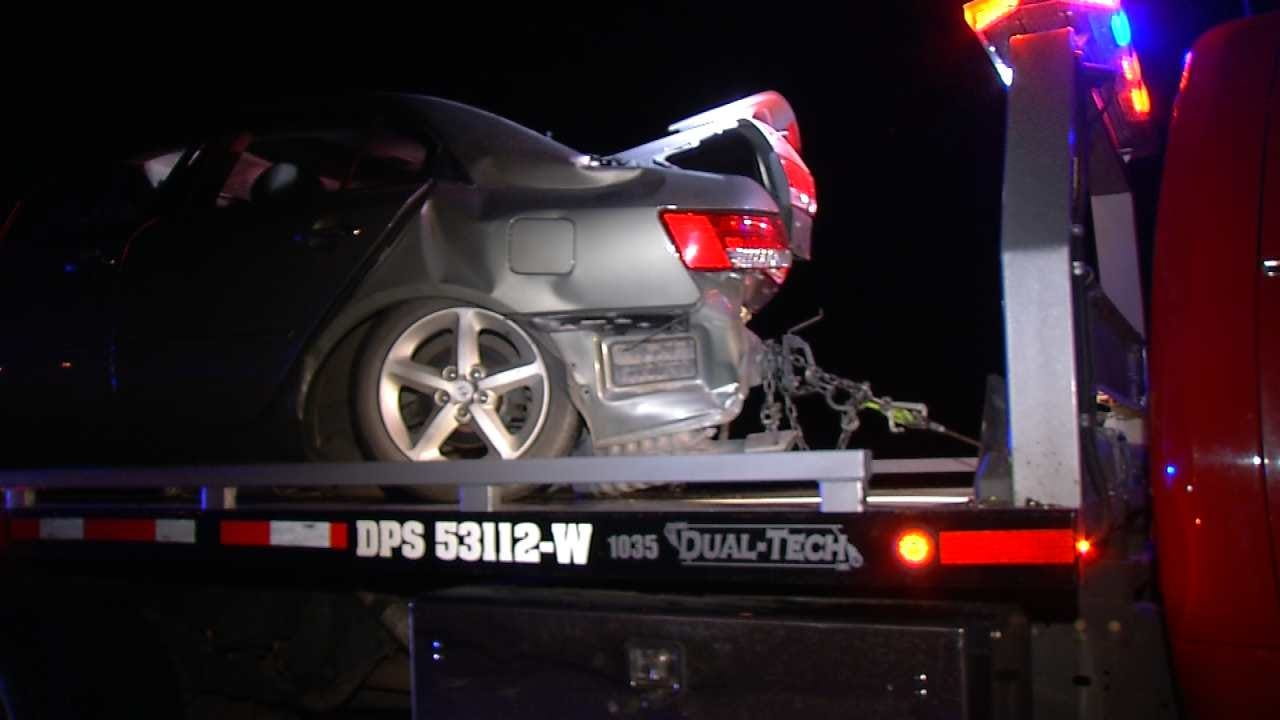 Stalled Car Leads To Tulsa Highway Crash