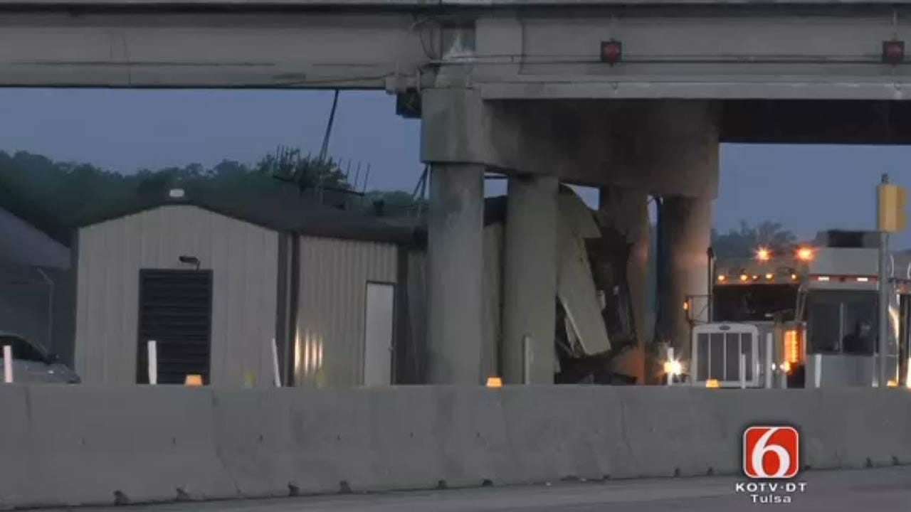 Semi Crashes Into Building At Cimarron Turnpike Toll Booth
